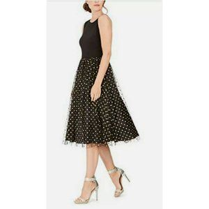 Calvin Klein Fit & Flare Dress Size 8, 16 Black & Gold Dot NWT